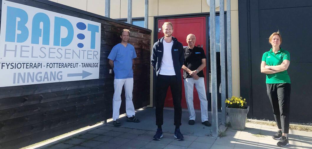 Fra venstre tannlege Håvard Mandt, fysioterapeut Christian Fredriksen og ortoped Henrik Moen. Foto: Privat.