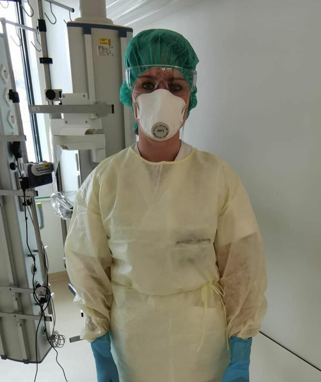 Bildet er av Unni Syre, spesialfysioterapeut ved terapiavdelingen Stavanger universitetssykehus og gruppeleder for fysioterapeuter på intensivavdelingen.Foto: Privat