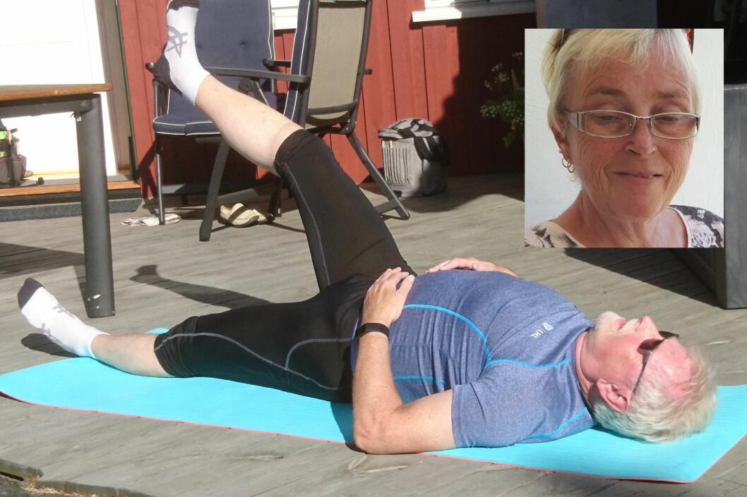 For revmatiker Brita Helene Berg (innfelt) og slagpasient Ove Hellvik ble plagene større da fysioterapiklinikkene måtte stenge. (Foto: privat)