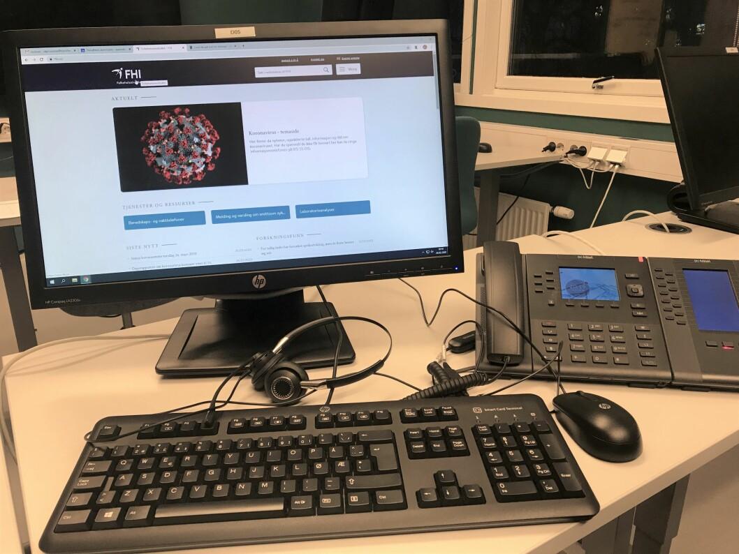 Fysioterapeuter i Trondheim må svare på koronatelefonen. Dette bildet er tatt av en av fysioterapeutene som betjener telefonen. (Foto: privat)