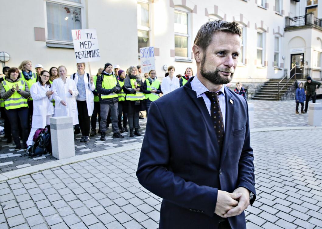 Mange ble skuffet over budsjettet fra Bent Høie, her ved Haukeland sykehus under legestreiken. Foto: Ørjan Deisz, Bergens Tidende.