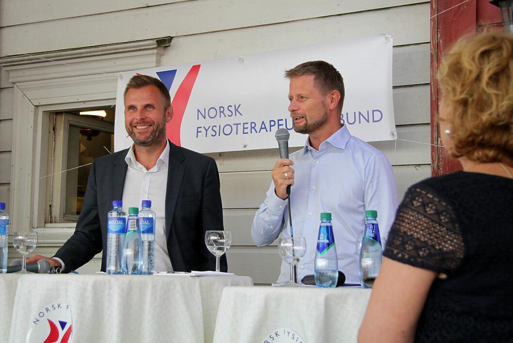 Duellanter. Torgeir Micaelsen (Ap) og helseminister Bent Høie (H) debatterte prioriteringer i kommunehelsetjenesten i regi av NFF. Foto: Kai Hovden