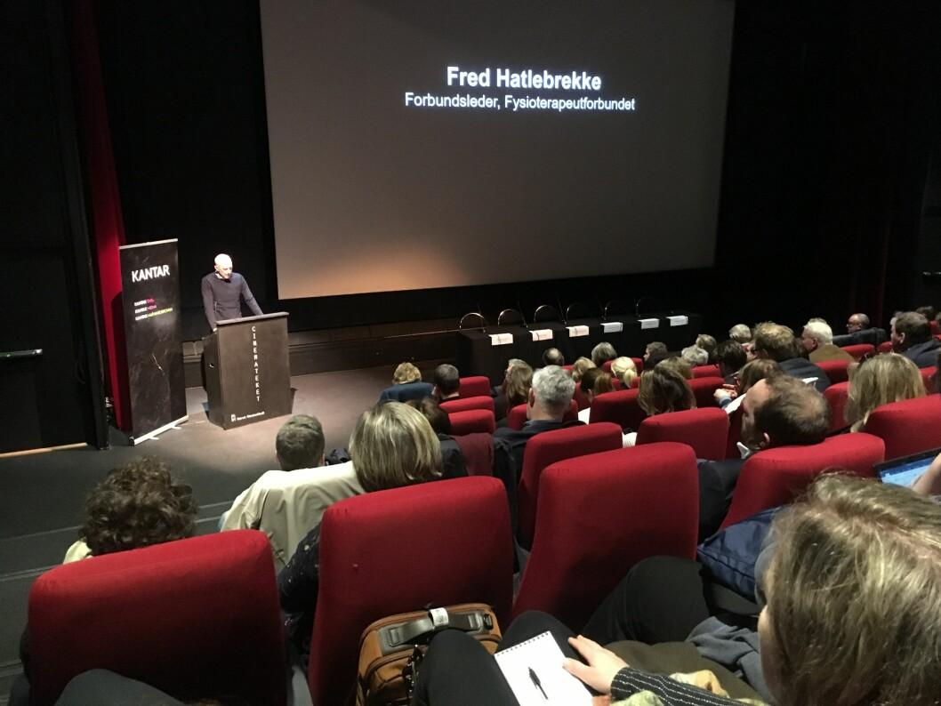 NFF-leder Fred Hatlebrekke kommenterer Helsepolitisk Barometer 2019. Foto: Cecilie Bakken Høstmark.