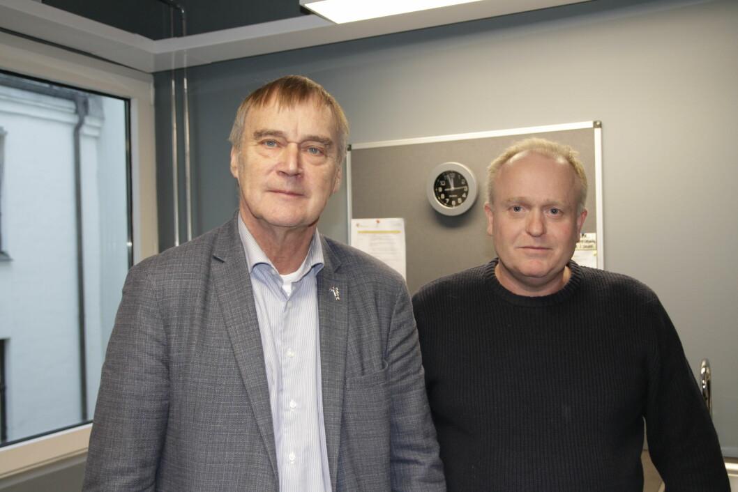 Svein Aarseth fra Rådet for legeetikk (til venstre) og leder i NFFs etiske utvalg Stig Fløisand ønsker å samarbeide rundt etiske spørsmål.