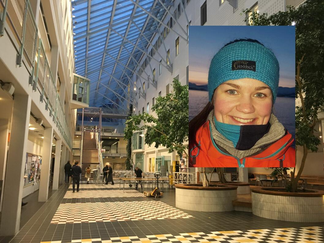 Leder for FYSIO Tromsø, Johanne Nikolaisen, forteller at det er et inkluderende miljø på UiT med små klasser. (Foto: Cecilie Bakken Høstmark og privat).