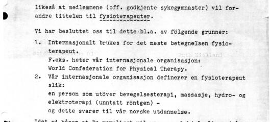 Glimt fra norsk fysioterapihistorie del 1: Den gang da, hva nå?