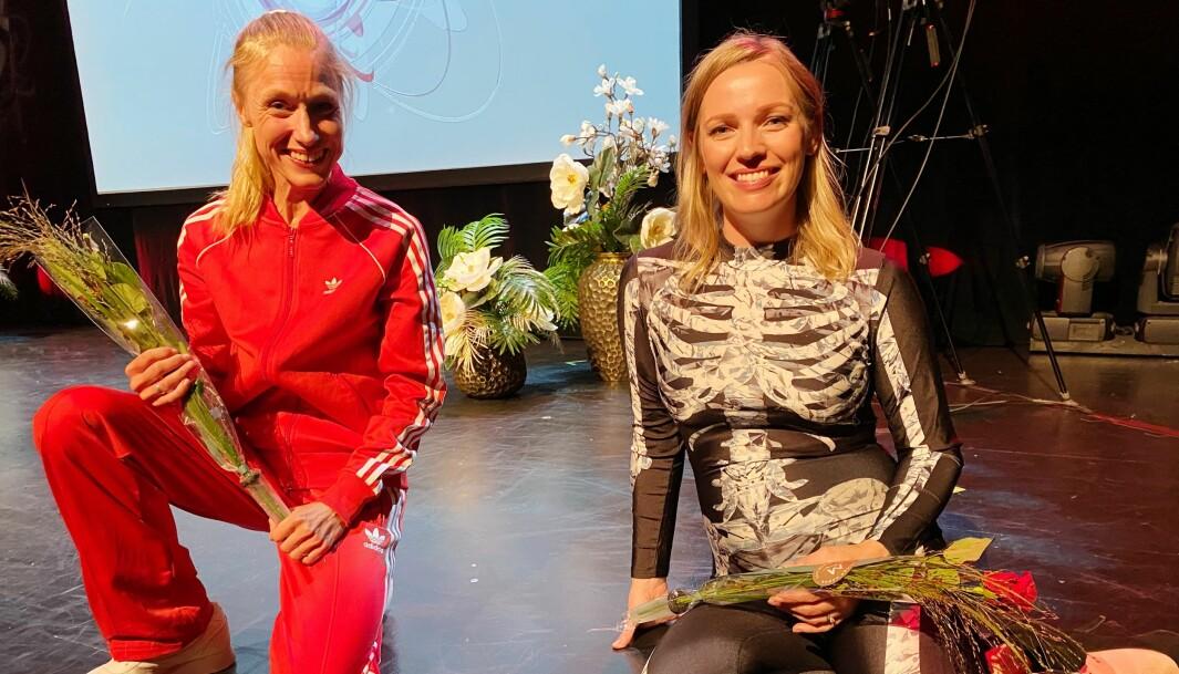 Katrine Rolid til venstre og Annette Vogt Flatby fikk begge ros da de deltok på Forsker Grand Prix tirsdag 22. september på Latter i Oslo.