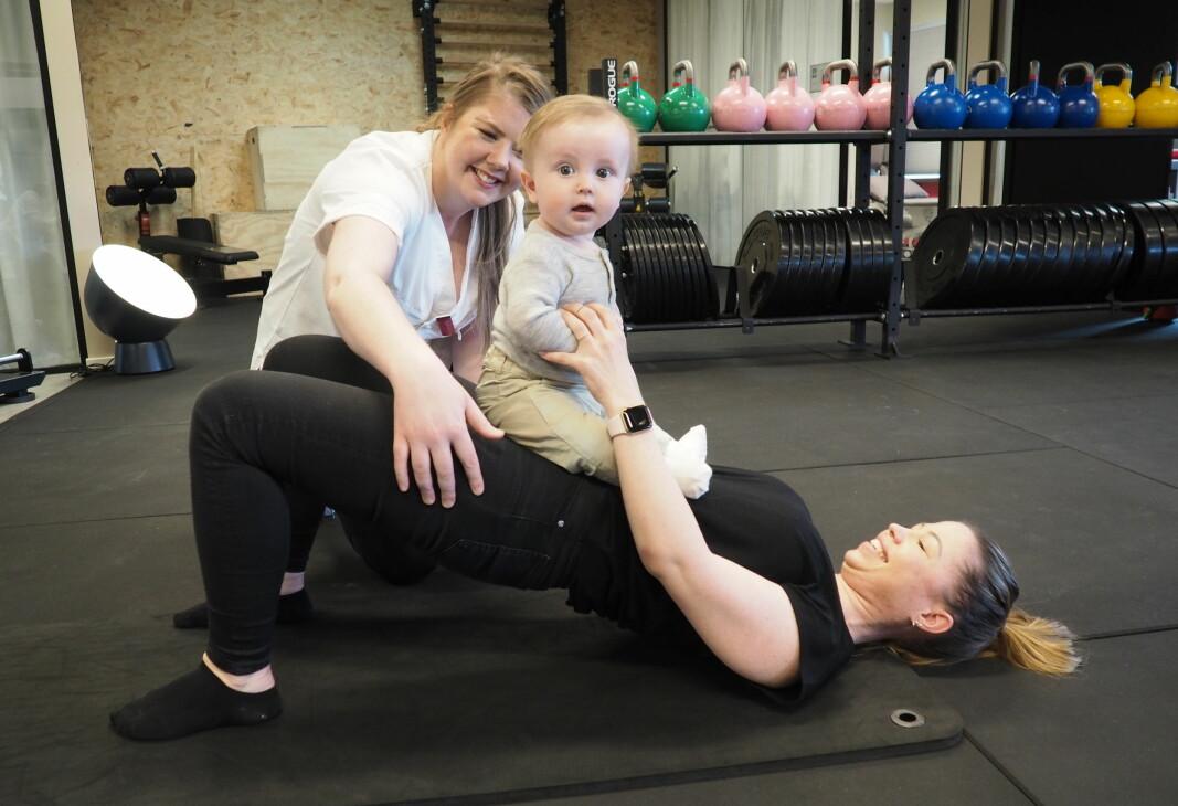 Ingrid Wangsmo gikk til fysioterapeut Renate Grønflaten mens hun var gravid med Filip.