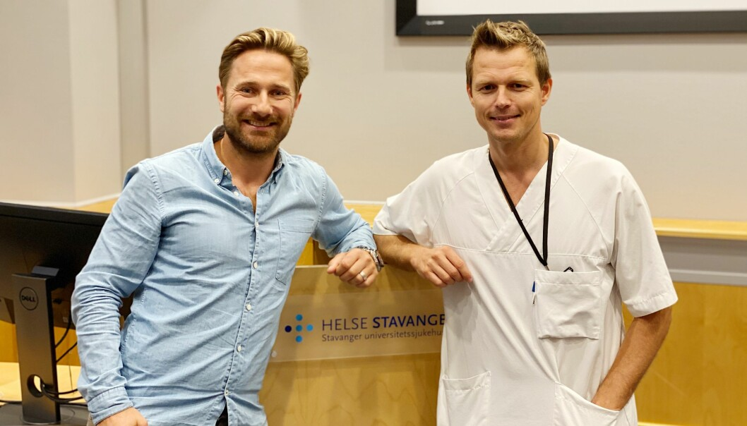 Fysioterapeut Tord Moen (til venstre) og gastrokirurg Henrik Hætta har startet samarbeid om fedmepasienter.