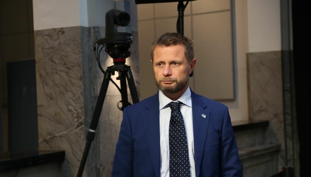 Helse- og omsorgsminister Bent Høie i forbindelse med en pressekonferanse tidligere i år.