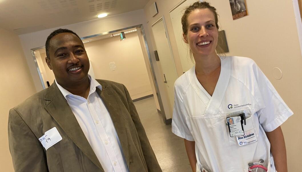 Da Sadiq Aded ble friskere, ville han trene mest mulig. Her sammen med fysioterapeut Åse Kristin Waglen.