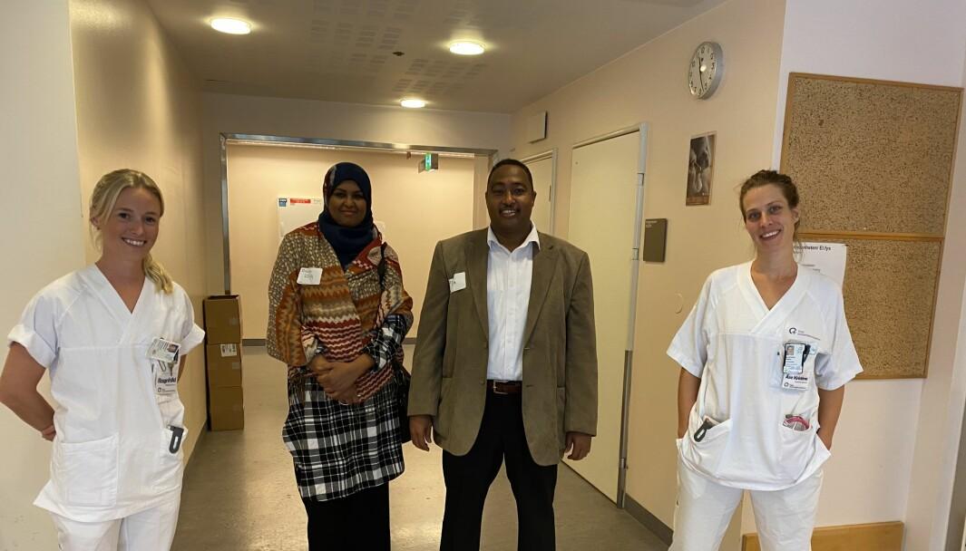 Tilbake på Rikshospitalet. Fra venstre: Ragnhild Mørland, Ayan Aded, Sadiq Aded og Åse Kristine Waglen.