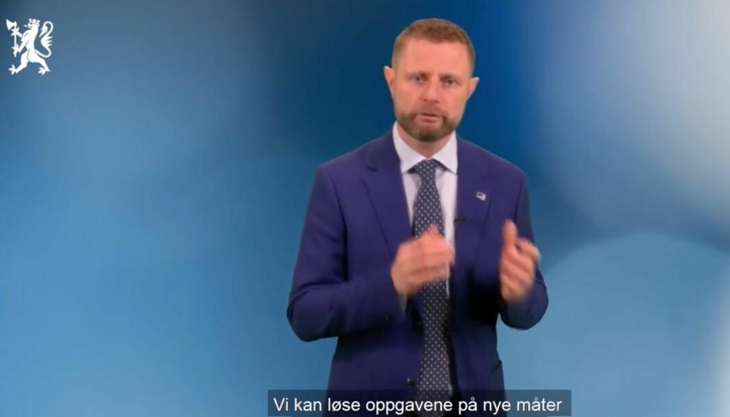 Skjermdump fra talen til Bent Høie.
