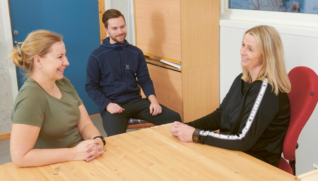 Evalueringsmøter: Torunn Berggård (f.v.), Erlend Haukland Våge og Mette Høisveen