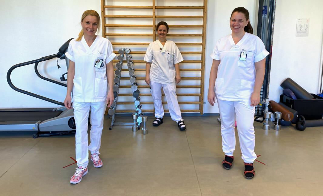 Fysioterapeuter ved Ullevål bidrar til temadagen om covid-19. F.v. Heidi Bunæs-Næss, Marit Follsund Viravog og Kaia Marie Nicolaisen.