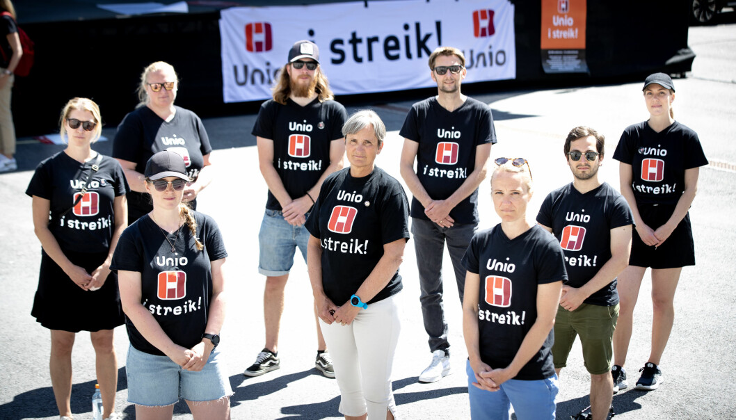 Gerty Lund møtte de som streiker i Sarpsborg.