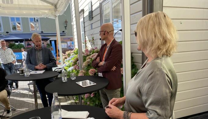 Paneldebatt med Kristin Clemet og Jo Thori Lind. Debattleder