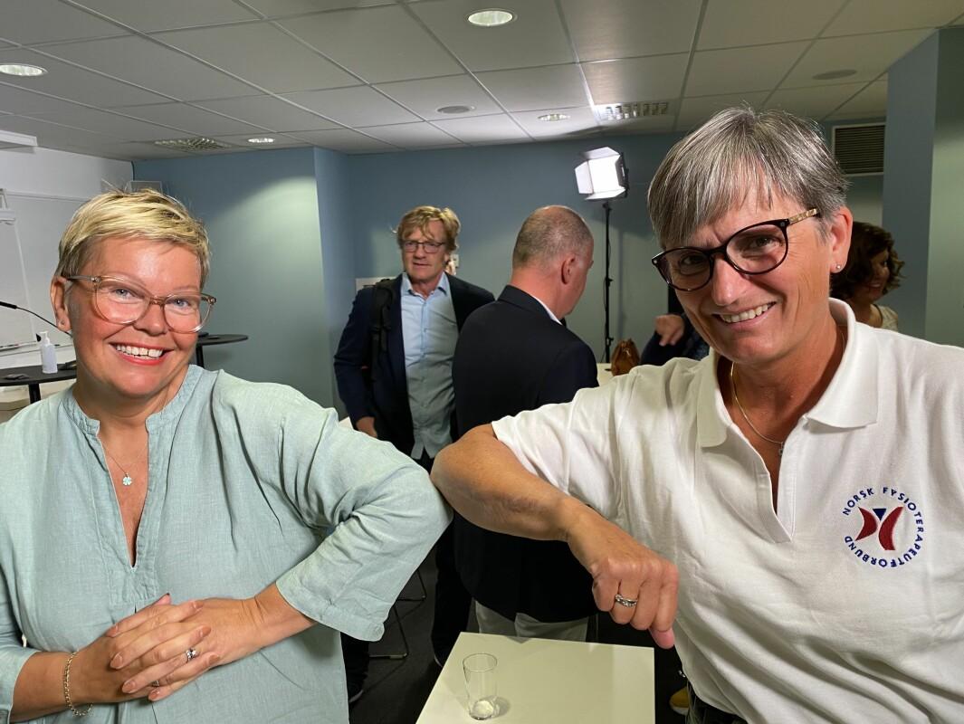 Hege Haukli Liadal (til venstre) og Gerty Lund ønsker folkehelseminister etter valget. Tirsdag 31. august stiller Lund opp foran Stortinget for å markere hvor viktig fysisk aktivitet i skolene er.