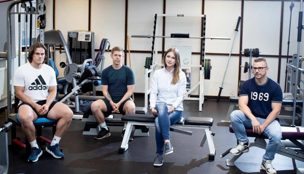 Treningsrommet er ett av flere steder hvor de fire fysioterapeutene behandler pasienter.