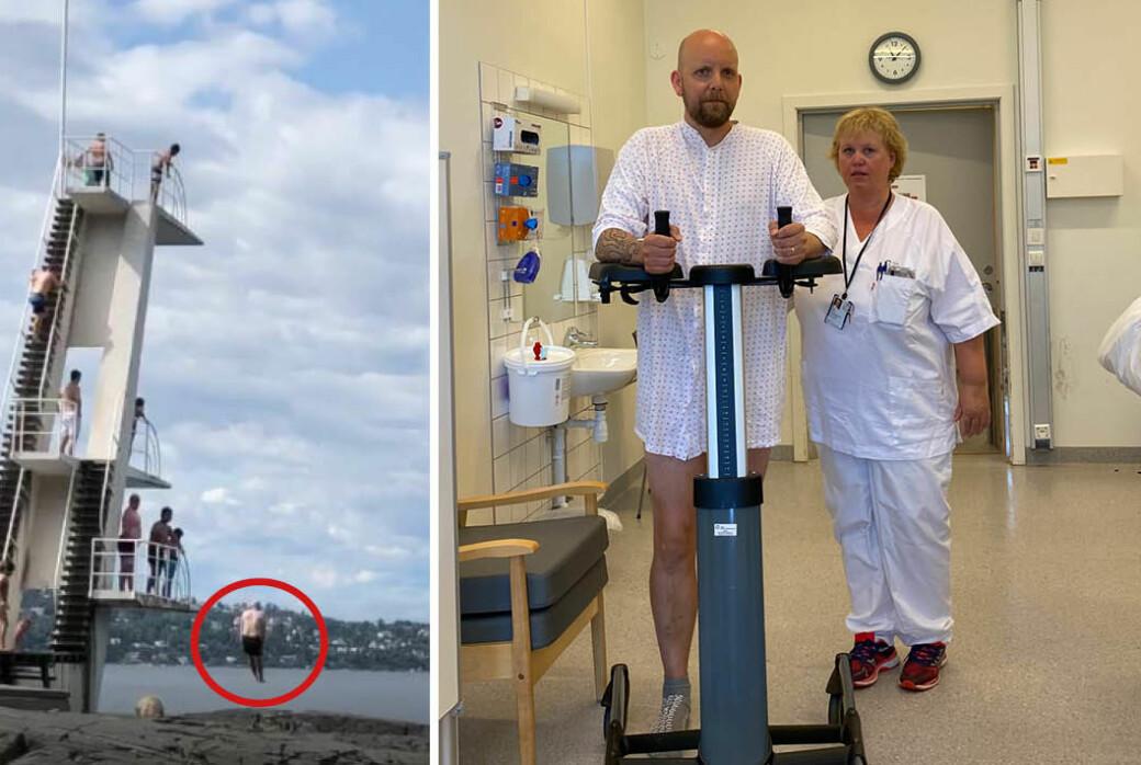 Spesialfysioterapeut Trine Strøm og undertegnede dagen etter det mislykkede hoppet.