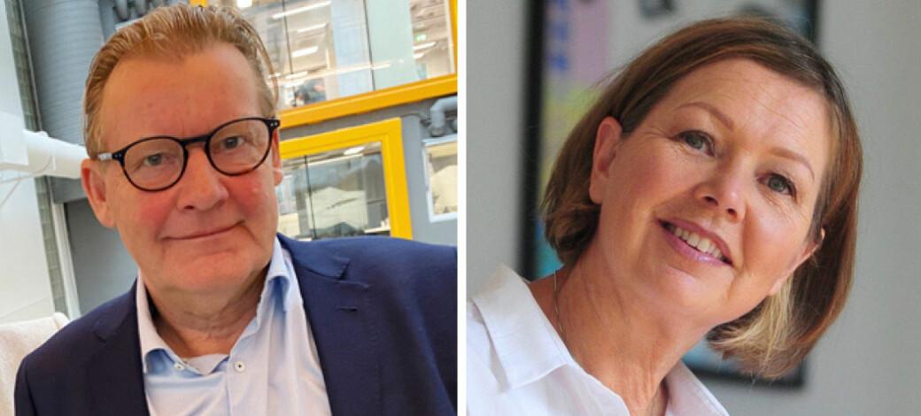 Peter Christian Lehne, leder i Norsk Manuellterapeutforening (NMF), og redaktør Irene Mårdalen i Fysioterapeuten.