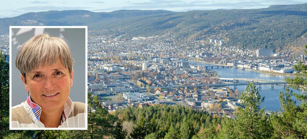 En del private fysioterapeuter i Drammen (bildet) har en særavtale med kommunen. Forbundsleder Gerty Lund i NFF (innfelt) ønsker ett avtaleverk som gjelder i hele landet.