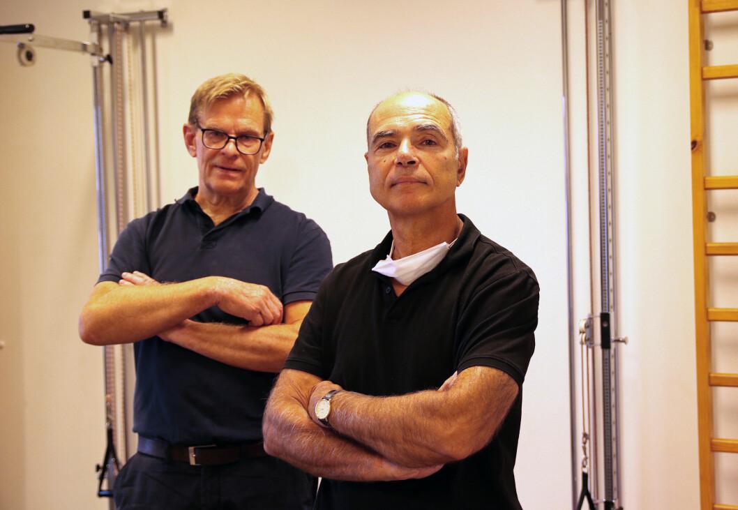 Fysioterapeutene Pål Syvertsen (t. v) og Jean-Jack Degenne har jobbet sammen på Bøler, øst i Oslo, i 41 år. De er utdannet i henholdsvis Berlin og Montpellier.